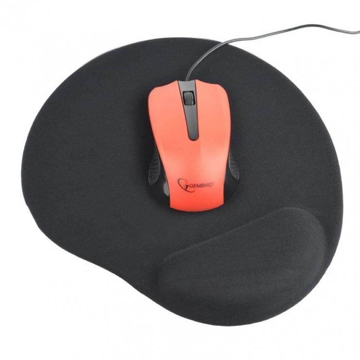 Imagine Mouse pad cu gel baza de cauciuc antiderapanta Negru, MP-GEL-BK-1