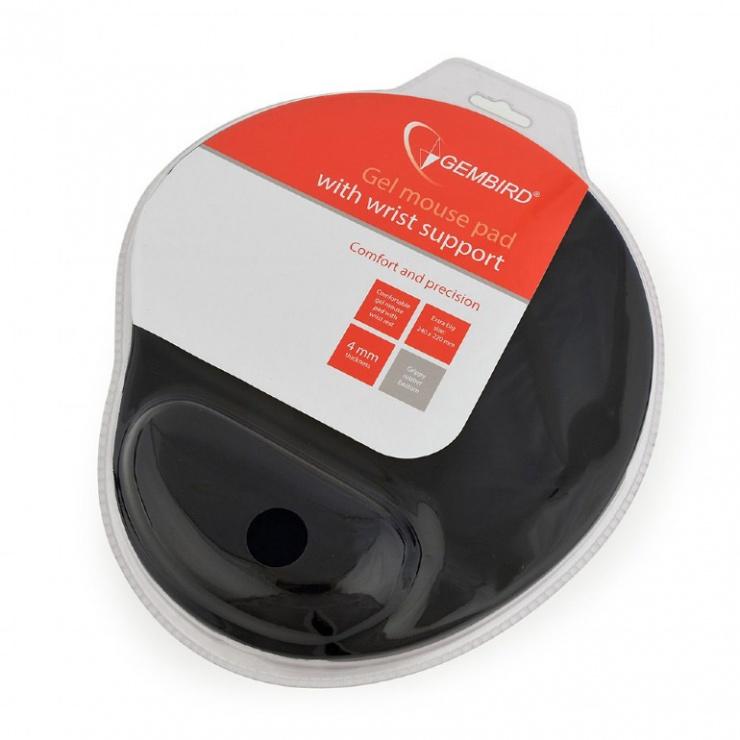 Imagine Mouse pad cu gel baza de cauciuc antiderapanta Negru, MP-GEL-BK-3