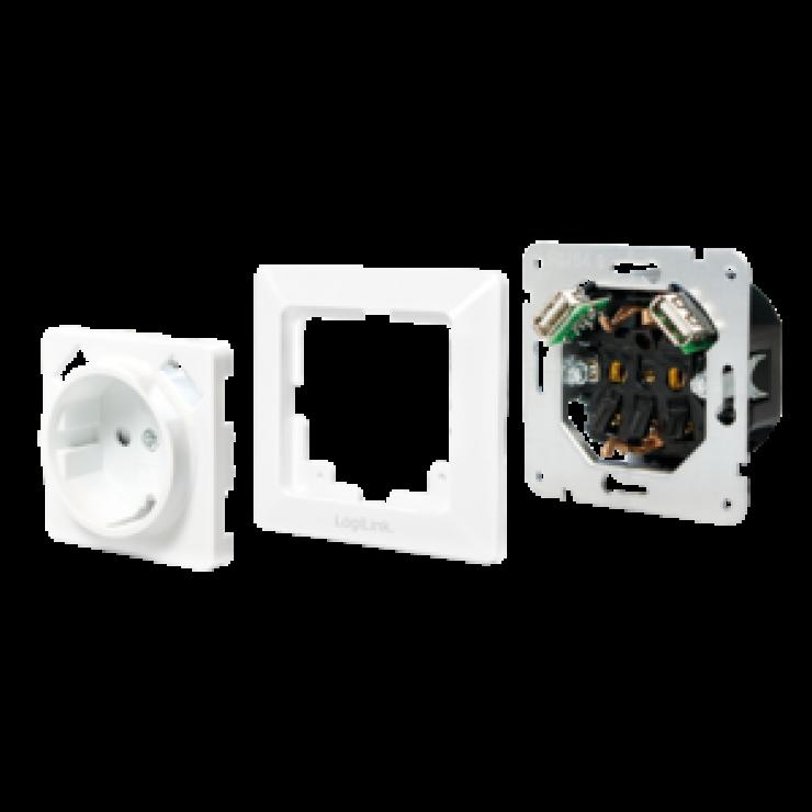 Imagine Priza ingropata de perete cu Schuko si 2 x USB Alb, Logilink PA0162