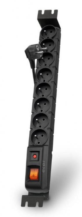 Imagine Prelungitor cu protectie rackabil 8 prize 3m Negru, Acar S8 FA