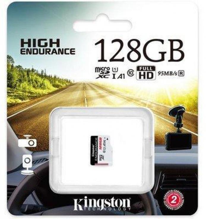 Imagine Card de memorie micro SDXC 128GB clasa 10 UHS-I High Endurance, Kingston SDCE/128GB-2