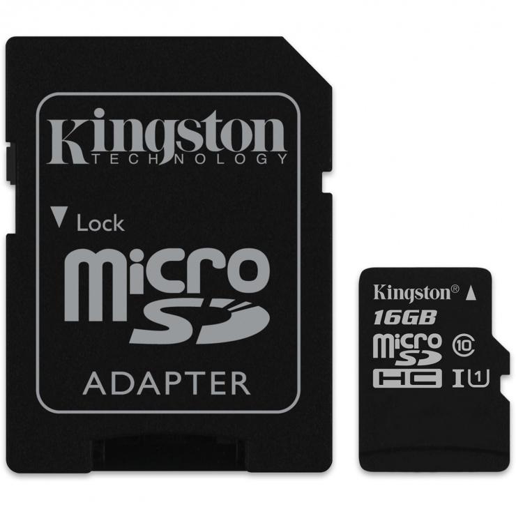 Imagine Card de memorie micro SDHC Canvas Select 16GB clasa 10 + adaptor SD, Kingston SDCS/16GB