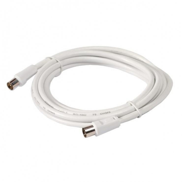 Imagine Cablu prelungitor coaxial (antena) RG59 T-M Alb 2m, Spacer SP-PT-COAX-2M