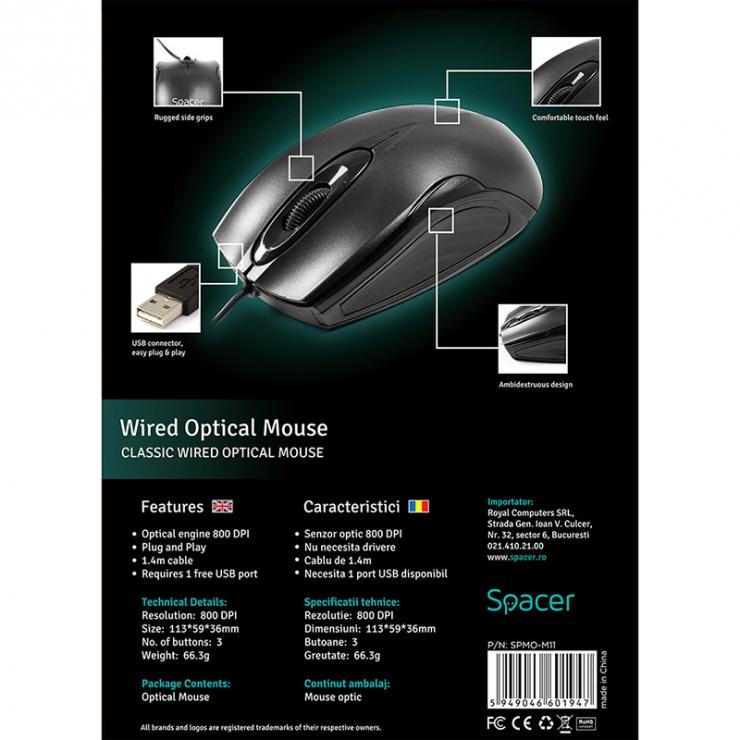 Imagine Mouse USB optic negru, Spacer SPMO-M11-6