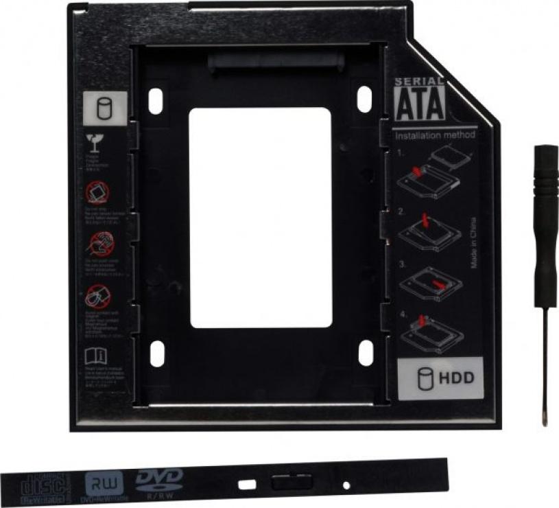 "Imagine Installation frame (caddy) Slim SATA 5.25"" pentru HDD SATA 12.7mm 2.5"", Spacer SPR-25DVDN"