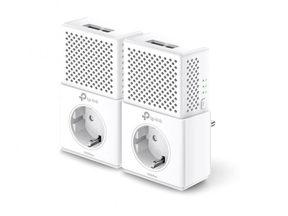 Imagine Kit Adaptor Powerline AV1000, priza AC, Gigabit, TP-Link TL-PA7020PKIT