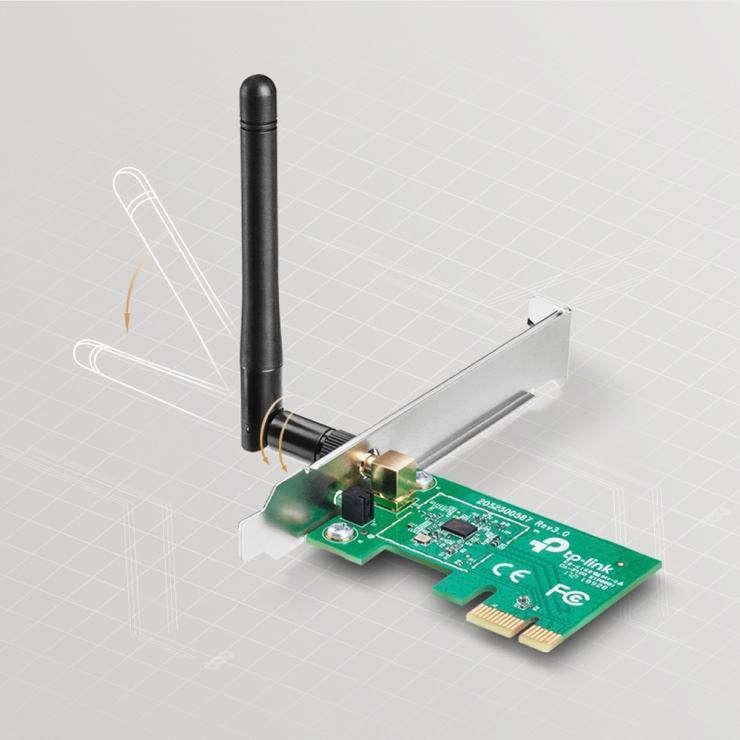 Imagine Placa retea Wireless PCI-E 150Mbps, TP-LINK TL-WN781ND-3