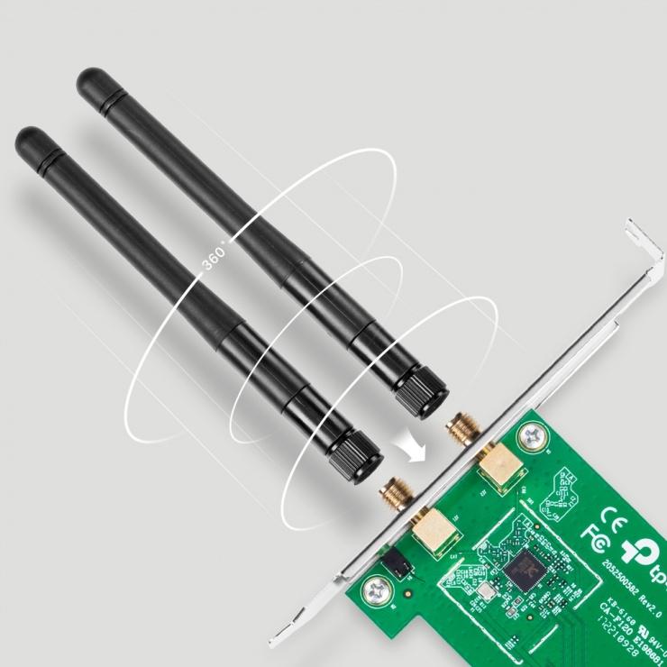Imagine Placa de retea Wireless PCI-E 300Mbps 2T2R, TP-LINK TL-WN881ND-3