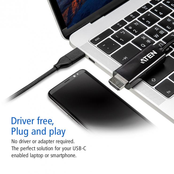 Imagine Cablu USB-C la HDMI 4K@60Hz T-T 2.7m Negru, ATEN UC3238-2