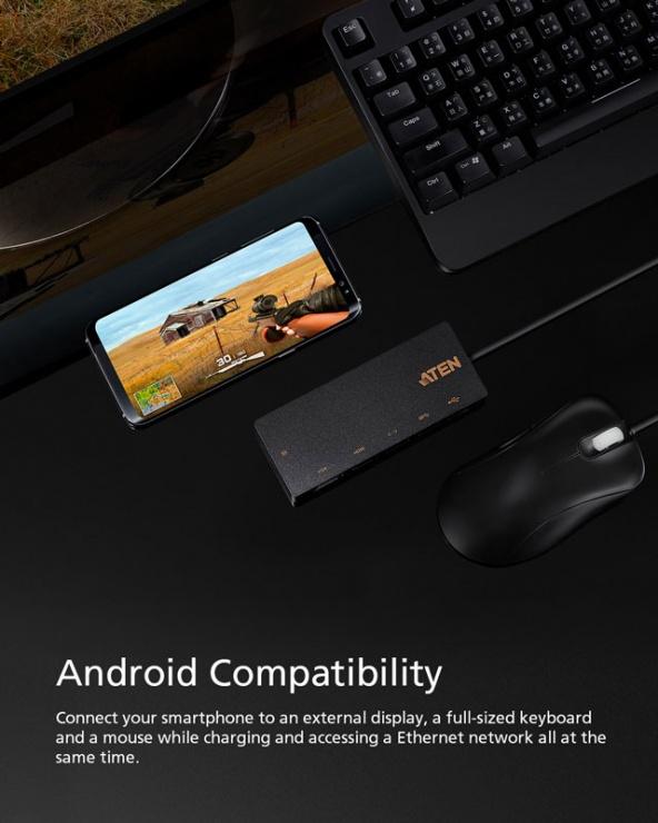 Imagine Docking station USB-C la 1 x HDMI 4K@30Hz, 1 x VGA, 1 x Gigabit, 1 x USB-A-3