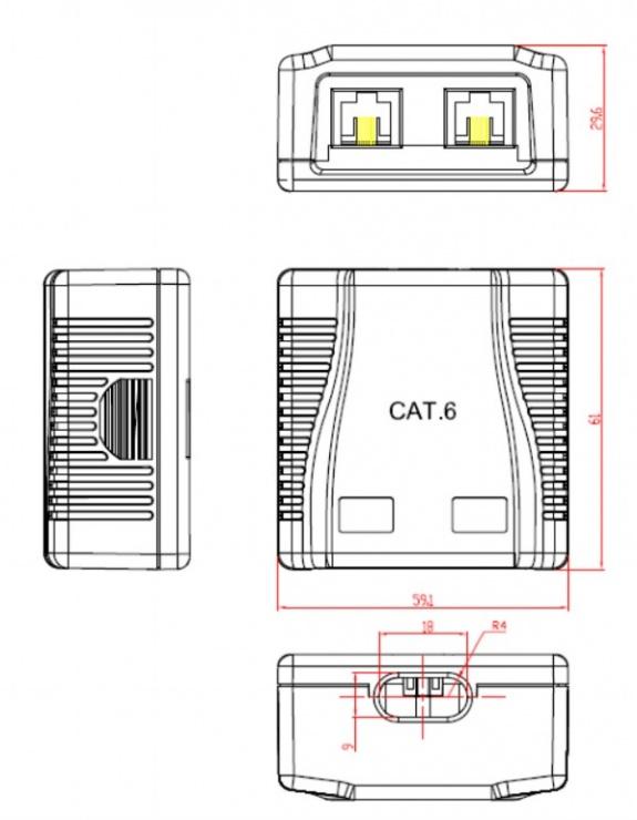 Imagine Priza de retea 2 porturi UTP aplicata cat 6, Gembird NCAC-2U6-01-2