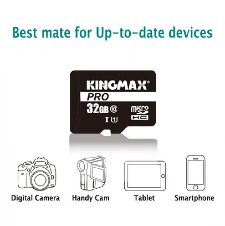 Imagine Card de memorie micro SDHC 32GB clasa 10 PRO + adaptor SD, Kingmax-2