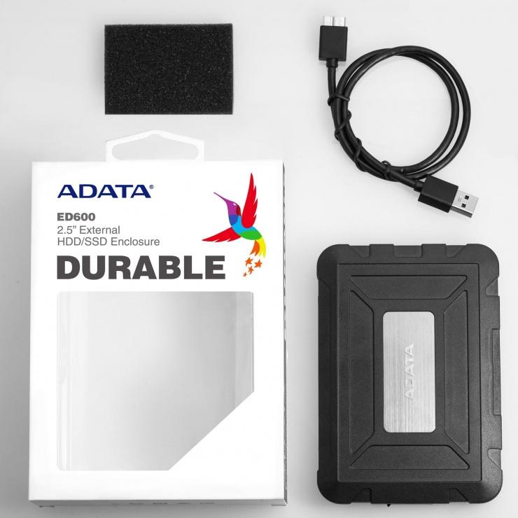 """Imagine Rack extern ED600 2.5"""" HDD SATA la USB 3.1, A-DATA AED600U31-CBK-6"""
