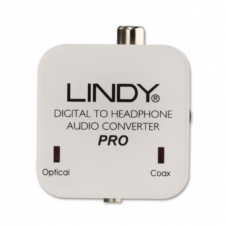 Imagine Convertor digital Coax/SPDIF la analog jack 3.5mm cu amplificare, Lindy L70467-2