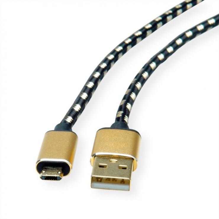 Imagine Cablu micro USB-B reversibil la USB 2.0 GOLD T-T 1.8m, Roline 11.02.8820-1
