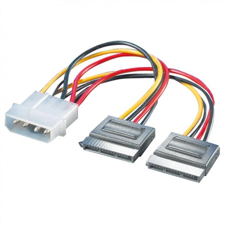 Imagine Cablu de alimentare Molex la 2 x SATA 12cm, Roline 11.03.1050