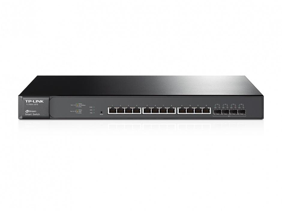Imagine Smart Switch JetStream 12 porturi 10GBase-T cu 4 sloturi 10G SFP+, TP-LINK T1700X-16TS