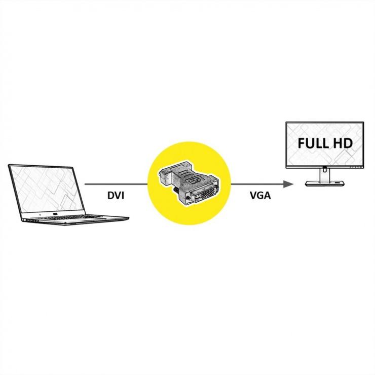 Imagine Adaptor DVI-I Dual Link 24+5pini la VGA 15pini T-M, Roline 12.03.3105-1