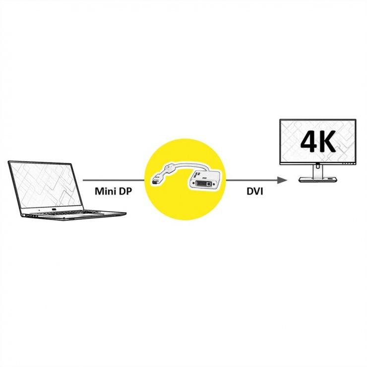 Imagine Adaptor Mini Displayport la DVI 4K T-M alb, Roline 12.03.3137