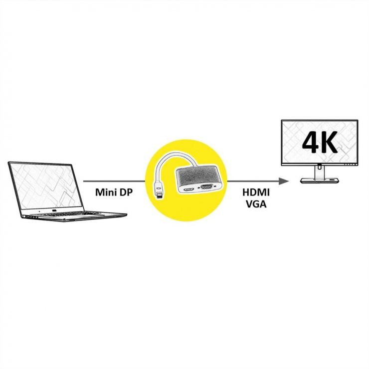 Imagine Adaptor Mini Displayport la HDMI/VGA T-M, Roline 12.03.3161