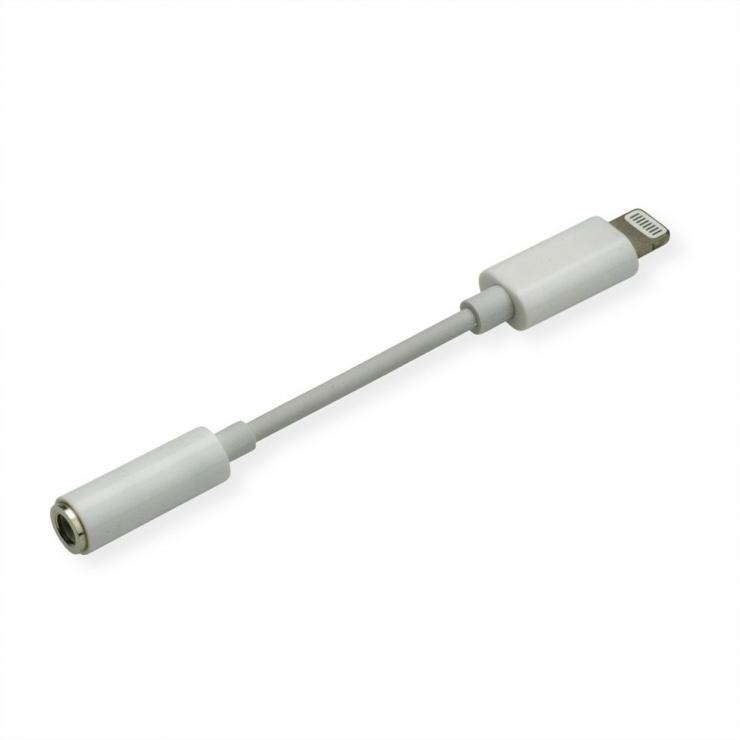 Imagine Adaptor iPhone Lightning MFI la jack stereo 3.5mm T-M 0.13m Alb, Roline 12.03.3214