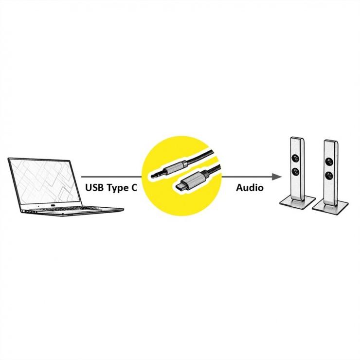 Imagine Cablu audio USB-C la jack stereo 3.5mm T-T Negru 3m, Roline 12.03.3218-1