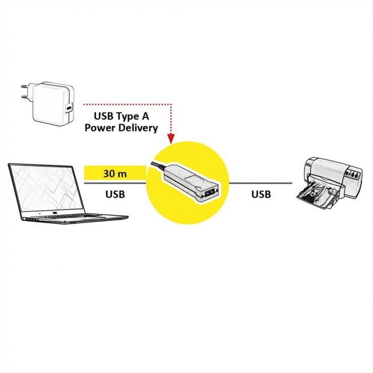 Imagine Cablu prelungitor USB 3.1 Gen 1 (AOC) Activ T-M  30m, Roline 12.04.1079-2