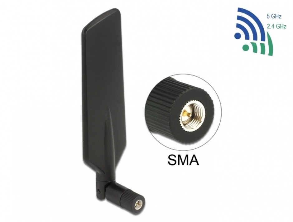 Imagine Antena LTE WLAN Dual Band SMA 1 - 4 dBi omnidirectional rotabila, Delock 12408