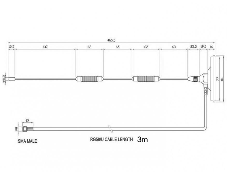 Imagine Antena fixa LTE SMA plug 7 dBi fixa omnidirectionala cu baza magentica RG-58 3m exterior Negru, Delo