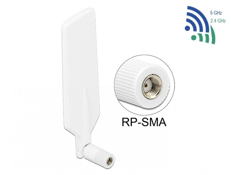 Imagine Antena LTE WLAN Dual Band RP-SMA 1 ~ 4 dBi omnidirectional rotabil alb, Delock 12431