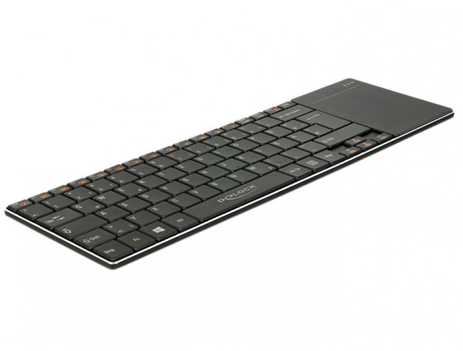 Imagine Tastatura wireless pentru Smart TV si PC Windows cu Touchpad 6 mm, Delock 12454