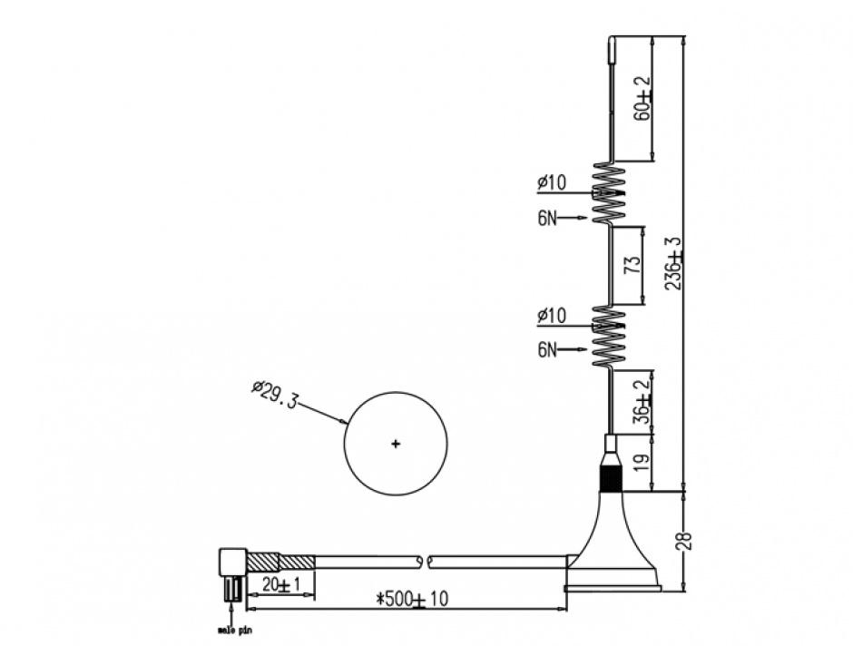 Imagine Antena LTE TS-9 Bluetooth / GSM / UMTS / WLAN 2.4 GHz / Z-Wave / ZigBee 2 - 3 dBi omnidirectionala c
