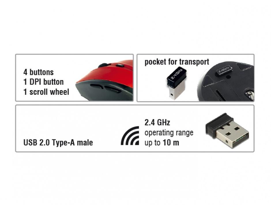 Imagine Mouse wireless ergonomic Negru/Rosu, Delock 12493