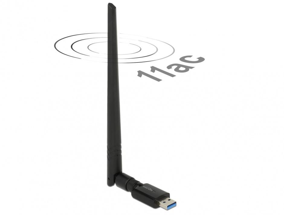 Imagine Placa de retea USB 3.0 Dual Band WLAN, Delock 12535