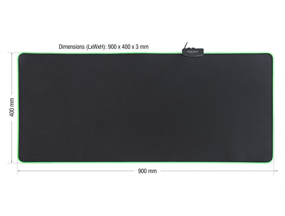Imagine Mouse Pad 900 x 400 x 3 mm cu iluminare RGB, Delock 12556