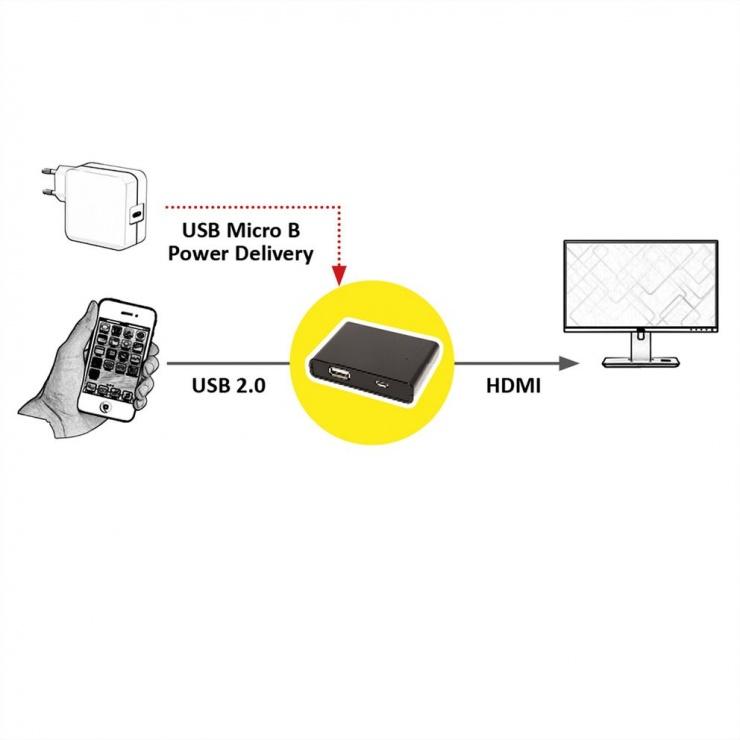 Imagine Adaptor pentru smartphone Android/iPhone la HDMI, Value 12.99.1140