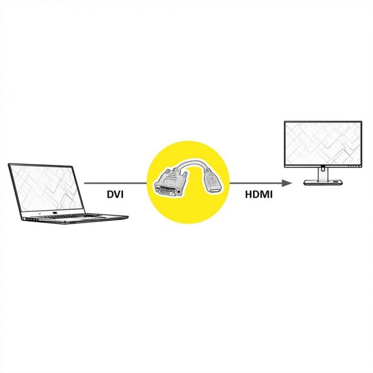 Imagine Adaptor HDMI la DVI-D 24+1 M-T 15cm, Value 12.99.3116-1