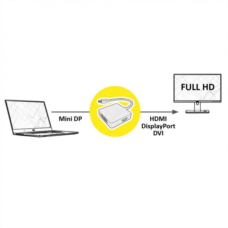 Imagine Adaptor Mini DisplayPort la DVI/DP/HDMI T-M, Value 12.99.3150 -4