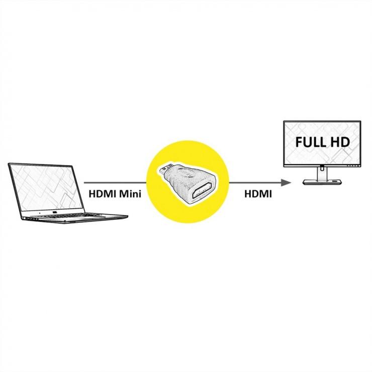 Imagine Adaptor mini HDMI-C la HDMI T-M, Value 12.99.3152-2