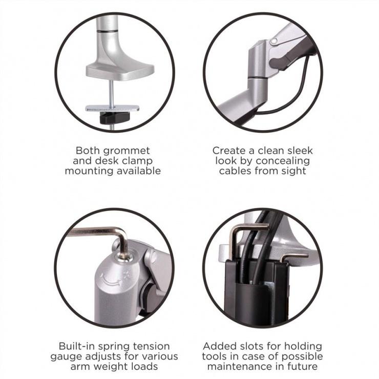Imagine Suport 3 monitoare cu montare birou Gas spring Argintiu, Value 17.99.1160-4