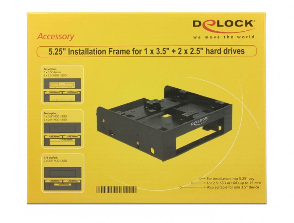 """Imagine Installation Frame 5.25"""" pentru 1 x 3.5"""" HDD + 2 x 2.5"""" HDD, Delock 18000"""