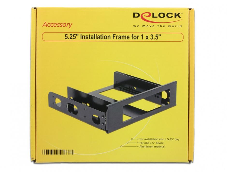 "Imagine Installation Frame 5.25"" pentru 1 x 3.5"" aluminiu, Delock 18267"