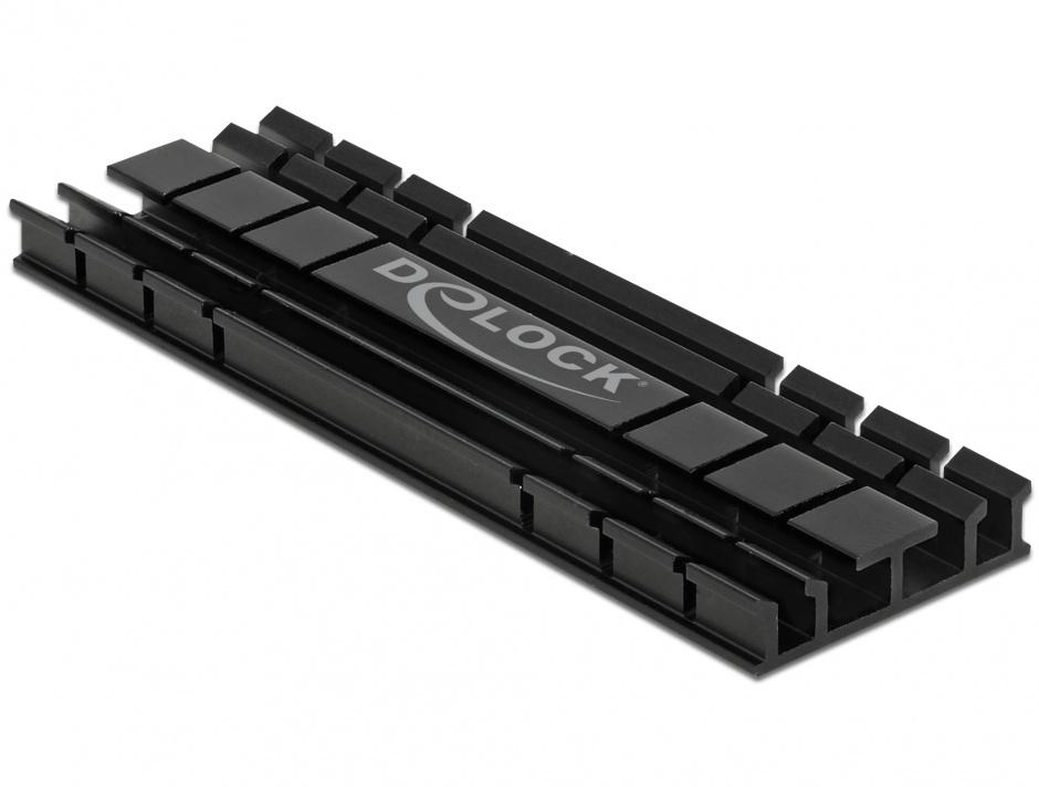 Imagine Cooler (ventilator) flat 70 mm din aluminiu pentru SSD M.2, Delock 18285