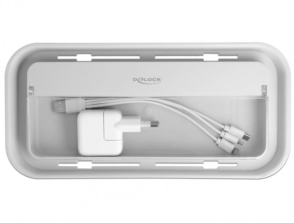 Imagine Cutie pentru organizarea cablurilor + spatiu depozitare alb/gri, Delock 18290