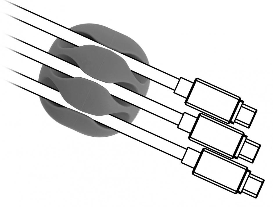 Imagine Set 6 buc ghidaje cablu 3 sloturi 3 albe/3 gri, Delock 18297