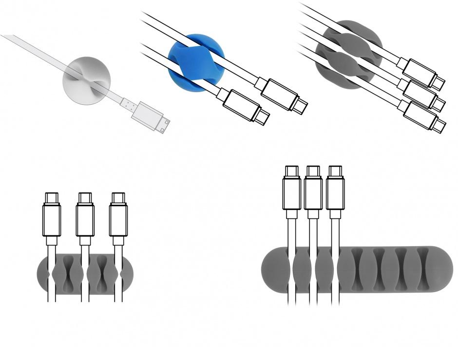 Imagine Set 6 buc ghidaje cablu diverse sloturi Gri/Alb/Negru, Delock 18300