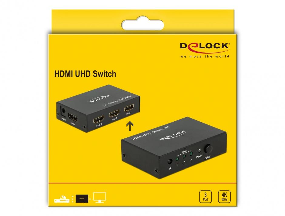 Imagine Switch HDMI 3 porturi cu telecomanda UHD 4K, Delock 18683