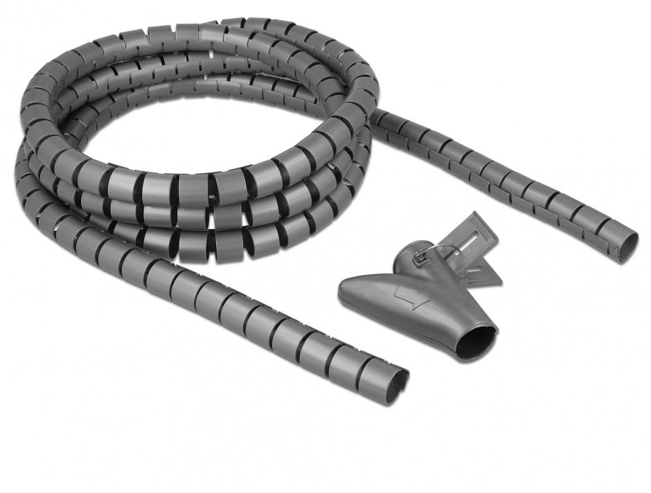 Imagine Organizator cabluri spiralat 2.5m x 20mm Gri, Delock 18844