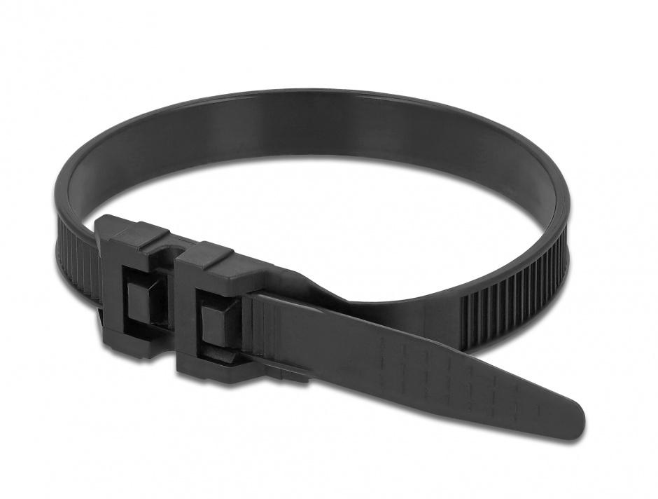 Imagine Set 10 buc bride cu inchizatura dubla 1000 x 9 mm Negre, Delock 18891
