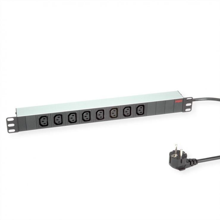 """Imagine Prelungitor PDU 19"""" Schuko la IEC C13 Aluminiu 2m, Roline 19.07.1628"""